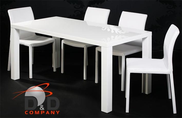 Stół Glassko 120 X 80 X 76 Biały Wysoki Połysk Dd Company Drzwi